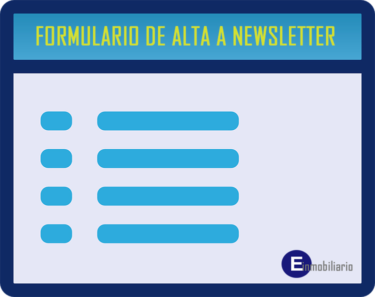 Email marketing inmobiliario: Formulario de alta a newsletter.
