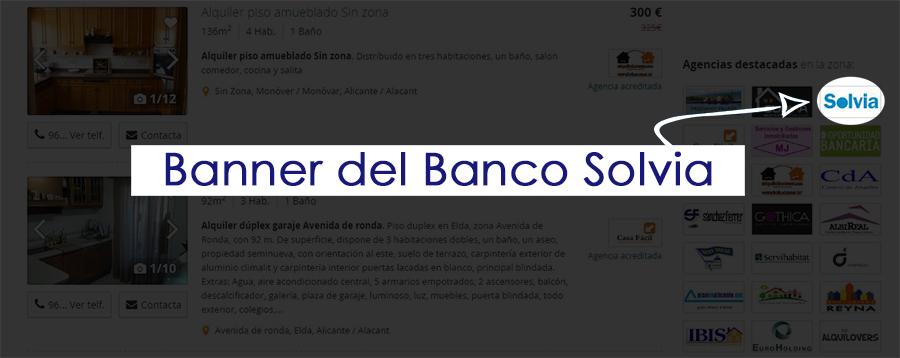 Banner del Banco Solvia en portal inmobiliario.