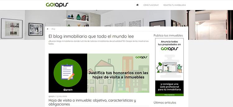 Blog del portal inmobiliario Goapis