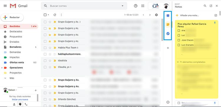 Vista de Gmail con herramientas para gestión de equipos.